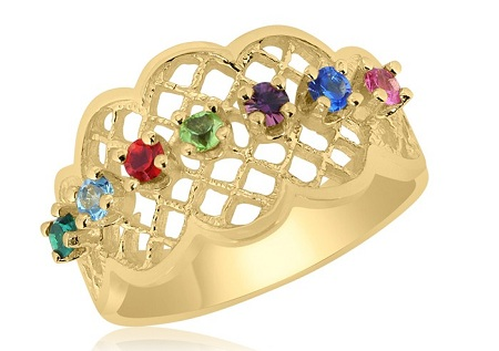 10K Yellow Gold Lattice Family Ring