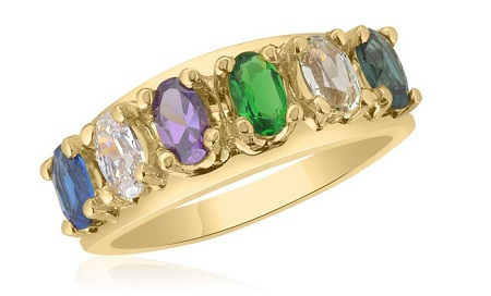 10K Yellow Gold Oval Stone Famiy Ring
