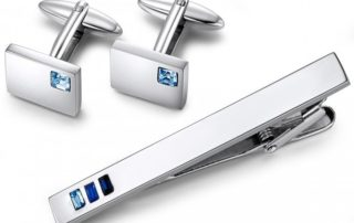 Tie Bar With Blue Rectangular Stones