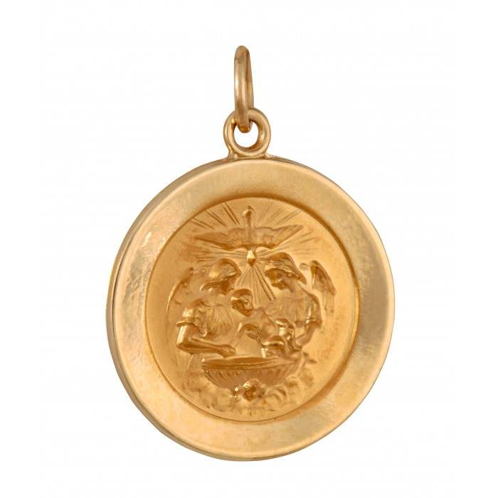 pendant yellow baptism gold angels medallion holy
