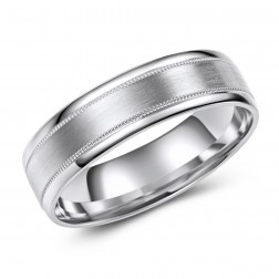 10K White Gold Milled Edge Matte Finish Wedding Band