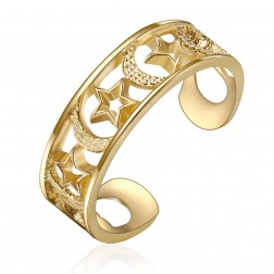 10K Yellow Gold Moon And Stars Toe Ring