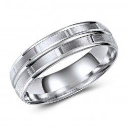 10K Brushed Finish Comfort Fit Textured Brick Pattern – Wedding Band