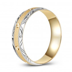 10K Gold Two Tone Diamond Cut Wedding Band