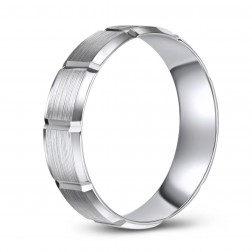 Brushed Finish 10K White Gold Wedding Ring with Block Pattern Design