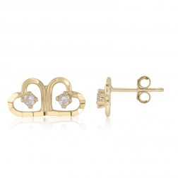 10K Yellow Gold Double Heart Earrings with Cubics
