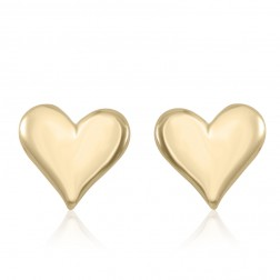 10K Yellow Gold Polished Heart Earrings