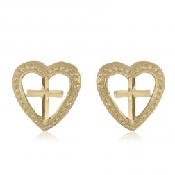 10K Yellow Gold Heart and Cross Stud Earrings