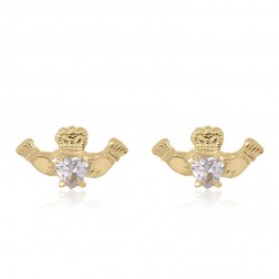 10K Yellow Gold Claddagh Studs with Cubics