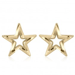 10K Yellow Gold Star Stud Earrings