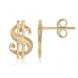 10K Yellow Gold Money Sign Stud Earrings