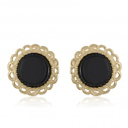 10K Yellow Gold Onyx Stud Earrings