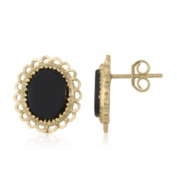 10K Yellow Gold Baby Stud Gold and Onyx Oval Earrings
