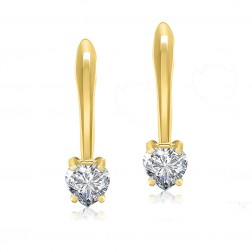 10K Yellow Gold 5mm Heart Shape French Back Earrings
