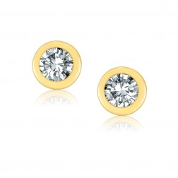 10K Yellow Gold 5mm Birthstone Bezel Stud Earrings