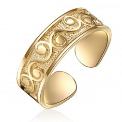 10K Yellow Gold Filigree Design Toe Ring