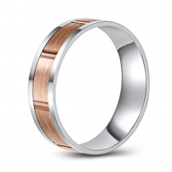 Two Tone 10K Gold Brushed Finish Wedding Band – Rustic Look