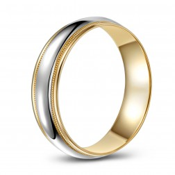 Two Tone Domed 10K Gold Wedding Band – Milled Edge