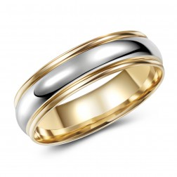 Two Tone 10K Gold Domed Wedding Band