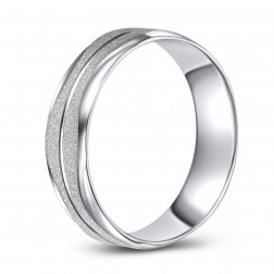 Wavelength Patterned Frosted Finish 10K White Gold Wedding Band