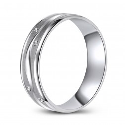Brushed Finish 10K White Gold Wedding Band with Cut Pattern in Gentle Waves