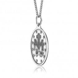 Miraculous Medal - O Mary Conceived Without Sin Pray For Us Who Have Recourse To Thee 23mm x 15mm Sterling Silver Pendant Charm