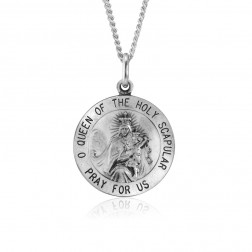 Sterling Silver Holy Scapular Religous Pendant