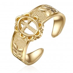 10K Yellow Gold Cross Toe Ring
