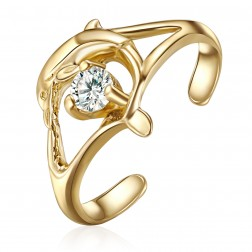 10K Yellow Gold Dolphin With Stone Toe Ring