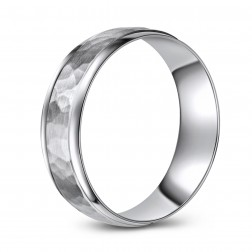Matte Finish Hammered 10K White Gold Wedding Band
