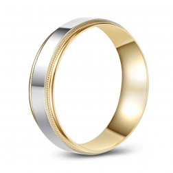 Milled Edge Two Tone 10K Gold High Polish Wedding Band