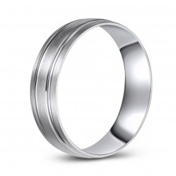 10K White Gold Brushed Finish Textured Ridged Wedding Band
