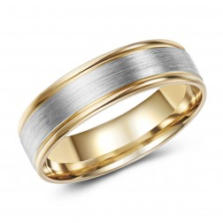 Two Tone 10K Brushed Gold Wedding Band