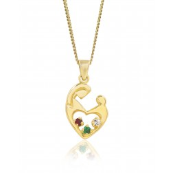 Mother's Embrace Three Birthstone Pendant - 10K Yellow Gold