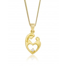 Embracing Mother Pendant - 10K Yellow Gold - One Birthstone