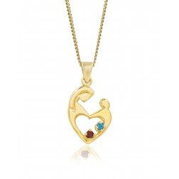 Two Birthstone Mother's Embrace Pendant - 10K Yellow Gold