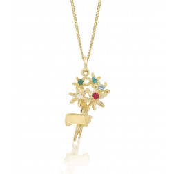 Family Bouquet - 10K Gold Pendant with Five Birthstones