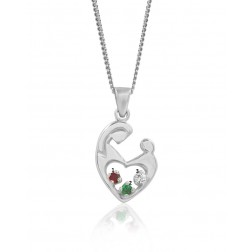 Mother's Embrace Three Birthstone Pendant - Sterling Silver