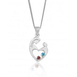 Two Stone Mother's Embrace Pendant - Sterling Silver