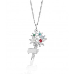 Family Bouquet - Sterling Silver Pendant with Five Birthstones