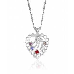 Family Heart Pendant - Five Birthstones - Sterling Silver
