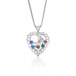 Family Heart Pendant - Six Birthstones - Sterling Silver