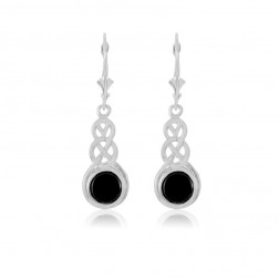 Sterling Silver Celtic Earring with Onyx