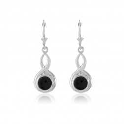 Sterling Silver Celtic Earrings with Onyx