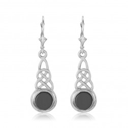 Sterling Silver Eternity Earrings with Onyx