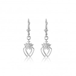 Sterling Silver Celtic Crowned Heart Earrings