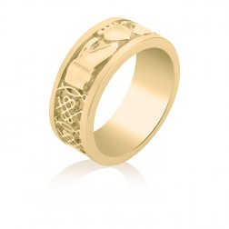 Men's Fenian Claddagh Ring in 10K Yellow Gold