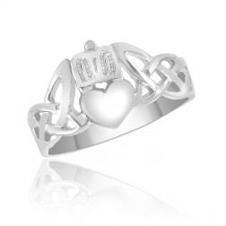 Celtic Knot Claddagh Ring in Sterling Silver