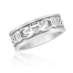 Sterling Silver Claddagh Ring with Celtic Knotwork