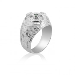 Sterling Silver Men's Celtic Cross Ring with Stone